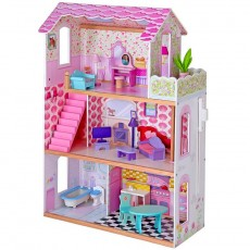 Wooden Giant Dollhouse With Balcony and Elevator