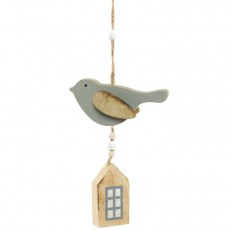 Grey Bird With House Door Decoration - Spring Decoration