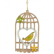 Yellow Bird In Wooden Cage Door Decoration - Spring Decoration